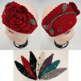 Hand Knitted Ear BanD--Flower & Leaves 12 pack