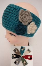 Hand Knitted Ear BanD--Multi & Flower
