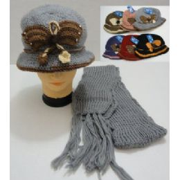 Hand Knitted Fashion Hat & Scarf SeT--Butterfly 36 pack