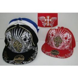 Fitted Hat With Cross & Skulls 72 pack