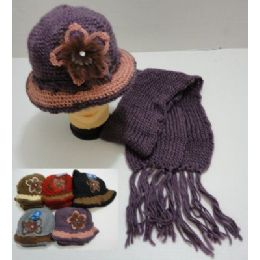 Hand Knitted Fashion Cap & Scarf SeT--Lg Flower