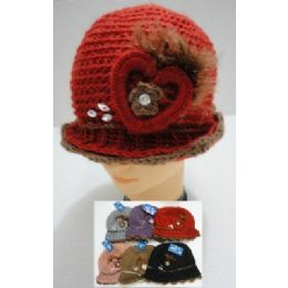 Hand Knitted Fashion HaT--Heart & Feather 48 pack
