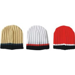 Mens Striped Ribbed Hat