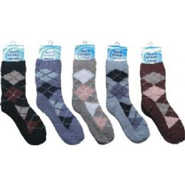 Mens Argyle Fuzzy Sock 10-13 144 pack