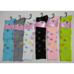 Ladies Knee High Socks 9-11 [Peace Signs] 120 pack