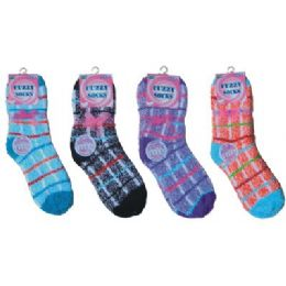 Printed Fuzzy Sock 144 pack