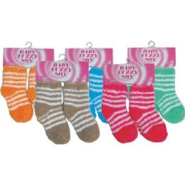 2 Pair Baby Fuzzy Sock 72 pack