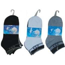 3 Pair Solid Ankle Sock For Kids Size 6-8 (usa Flag Print) 72 pack