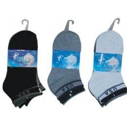 3 Pair Solid Ankle Sock For Kids Size 6-8 72 pack