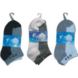 3 Pair Solid Ankle Sock For Kids Size 4-6 72 pack