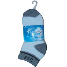 3 Pair Solid Cotton Ankle Sock For Kids Size 6-8 Usa 72 pack