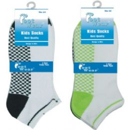 3 Pair Solid Cotton Ankle Sock For Kids Size 4-6 Usa