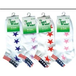 2 Pair Pack Of Ladies Ankle Sock With Usa Flag