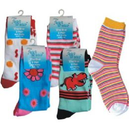 2 Pack Ladies Printed Tube Sock 144 pack