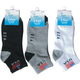 Ladies 2 Pair Pack 9-11 Sport Ankle Sock Usa 144 pack