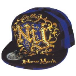 Flat Fitted Baseball Cap With Ny Design 48 pack
