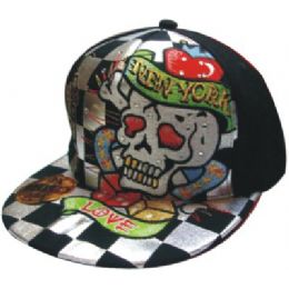 Flat Fitted Baseball Cap With Skull Design 48 pack