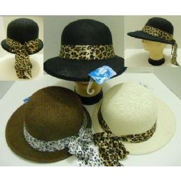 Ladies LargE-Brimmed Hat With Animal Print Bow 48 pack