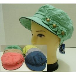 Pastel Newsboy With 3 Fabric Flowers And Buttons 144 pack