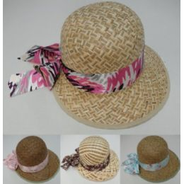 Womans Straw Hat With Printed Bow 48 pack