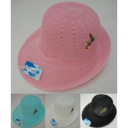 Ladies Mesh Embroidered Derby Hat 24 pack