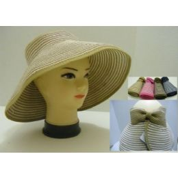 Ladies RolL-Up LargE-Brimmed Sun Visor With Velcro Bow