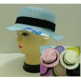 Ladies Round Pastel Hat With Black Hat Band