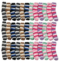 Yacht & Smith Kids Stripe Color Fuzzy Socks Size 4-6 36 pack