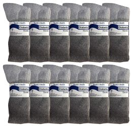 Yacht & Smith Women's Cotton Diabetic NoN-Binding Crew Socks - Size 9-11 Gray 12 pack