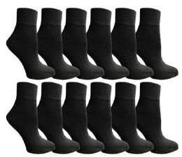 Yacht & Smith Men's Premium Cotton Quarter Ankle Sport Socks Size 10-13 Solid Black 12 pack
