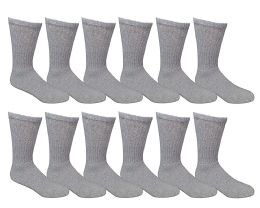 Yacht & Smith Kids Premium Cotton Crew Socks Gray Size 6-8 12 pack