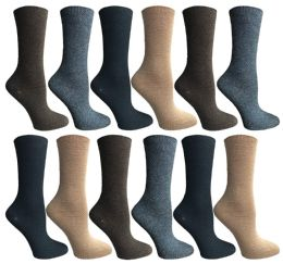 SOCKSNBULK Womens Dress Crew Socks, Bulk Pack Assorted Chic Socks Size 9-11 12 pack