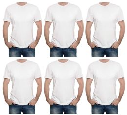 Mens First Quality Cotton Short Sleeve T Shirts Solid White Size L 6 pack