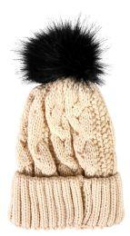 """Yacht & Smith Womens Pom Pom Beanie Hat, Winter Cable Knit Hat, Warm Cap, 3"""" Pom Beige"""