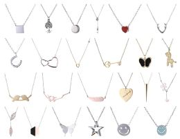 Necklace Bulk Lot Sterling Silver Stainless Steel Jewelry Many Styles And Colors 48 pack