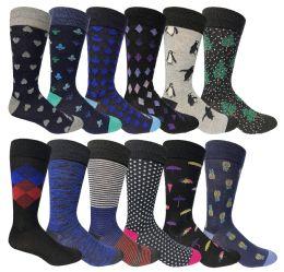 Yacht & Smith Assorted Design Mens Dress Socks, Sock Size 10-13 Assorted 12 Designs