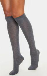 Yacht & Smith Womens Gray Knee High Socks, Boot Socks 90% Cotton, Size 9-11