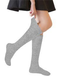 Yacht & Smith 90% Cotton Girls Heather Gray Knee High, Sock Size 6-8