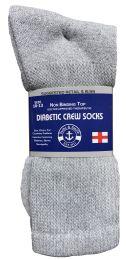 Yacht & Smith Men's Loose Fit NoN-Binding Soft Cotton Diabetic Crew Socks Size 10-13 Gray