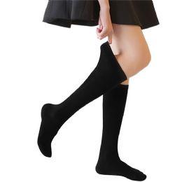 Yacht & Smith 90% Cotton Girls Black Knee High, Sock Size 6-8