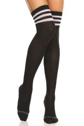 Yacht & Smith Womens Over The Knee Referee Thigh High Boot Socks Black With White Stripes