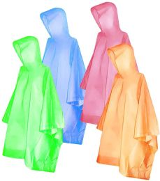 Yacht & Smith Unisex One Size Reusable Rain Poncho Assorted Colors 60G PEVA
