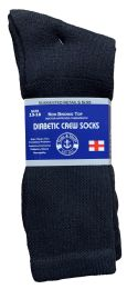 Yacht & Smith Men's King Size Loose Fit Non-Binding Cotton Diabetic Crew Socks Black Size 13-16