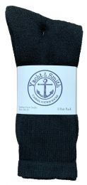 Yacht & Smith Mens Cotton Black Crew Socks, Sock Size 10-13