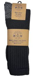 Yacht & Smith Men's Heavy Duty Steel Toe Work Socks, Black, Sock Size 10-13