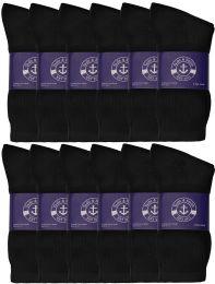 Yacht & Smith Womens Cotton Black Crew Socks, Sock Size 9-11