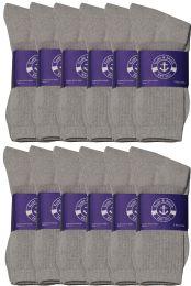 Yacht & Smith Womens Cotton Gray Crew Socks, Sock Size 9-11