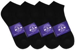 Yacht & Smith Womens Cotton Black No Show Ankle Socks, Sock Size 9-11