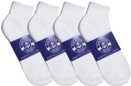 Yacht & Smith Mens Cotton White Sport Ankle Socks, Sock Size 10-13