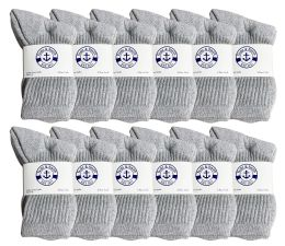 Yacht & Smith Kids Cotton Terry Cushioned Crew Socks Gray Size 6-8